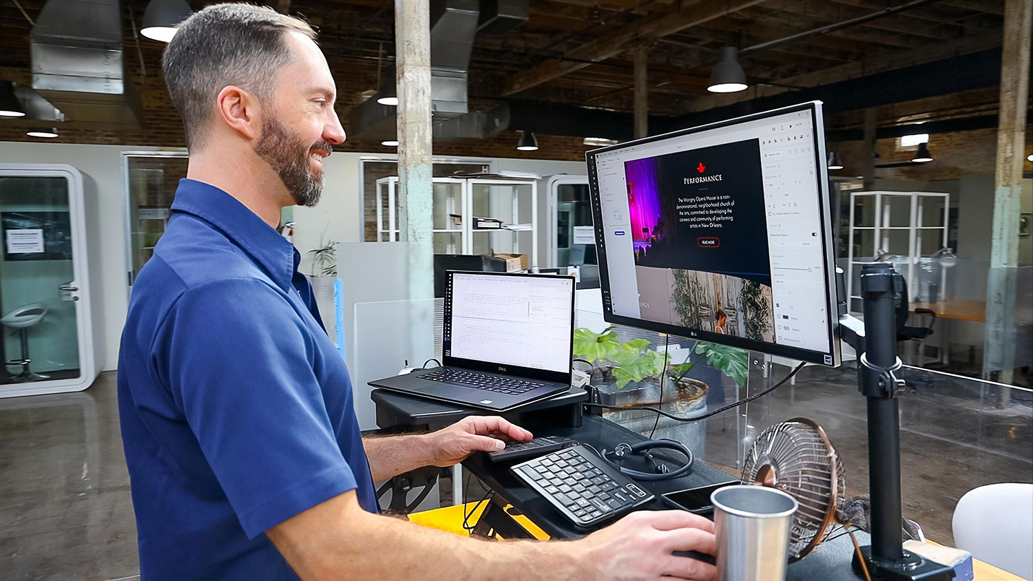 Josh Pitts doing web design & SEO at his office in Bywater, New Orleans